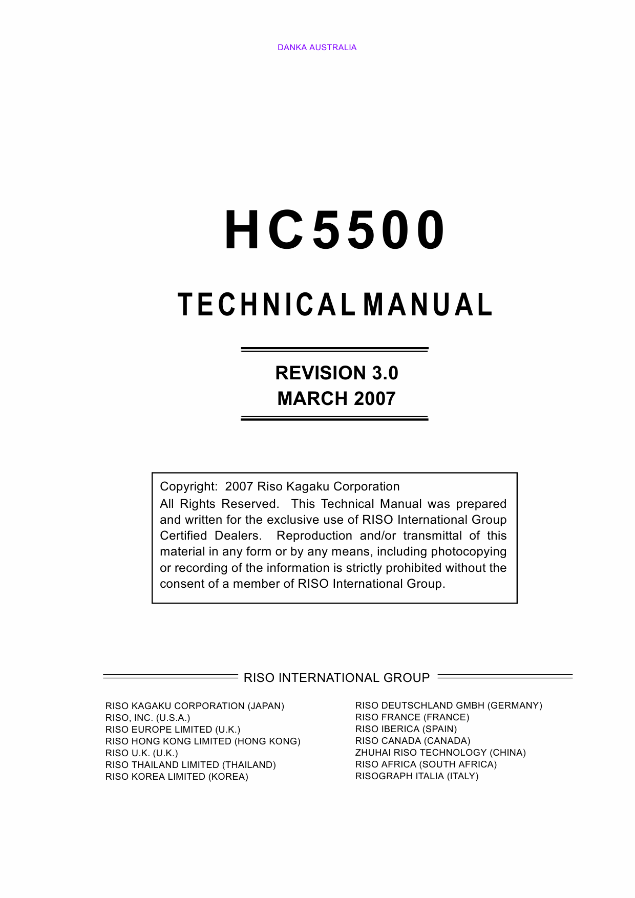 RISO HC 5500 TECHNICAL Service Manual-1